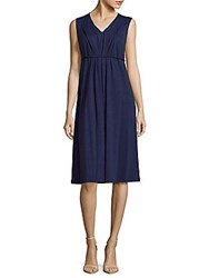 Lafayette 148 New York Textured Linen Blend Dress Navy
