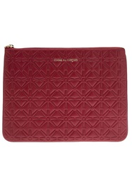 Comme Des Garcons Play Star Embossed Zip Wallet Red