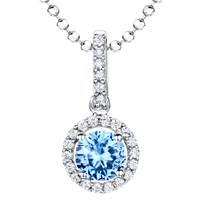 Jools By Jenny Brown Cubic Zirconia Suspended Circle Necklace Silver Blue