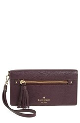 Kate Spade Women's New York 'Spencer Court Rae' Leather Wristlet Wallet Burgundy Mahogany