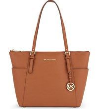Michael Michael Kors Jet Set Medium Leather Tote Orange