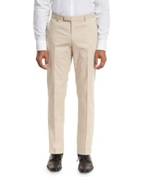 Boss Stretch Cotton Flat Front Trousers Tan Brown