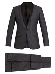 Dolce And Gabbana Two Piece Jacquard Silk Wool Suit Grey
