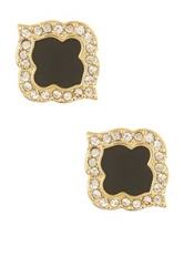 Ariella Collection Quatrefoil Stud Earrings Black