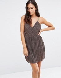 Love And Other Things Lace Cami Skater Dress Coffee Brown