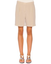 Piazza Sempione Pleated Relaxed Silk Shorts Taupe Brown