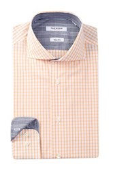 Isaac Mizrahi Long Sleeve Slim Fit Check Dress Shirt Orange