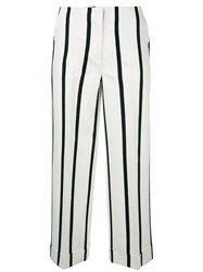 Twin Set Striped Cropped Trousers Nude Neutrals