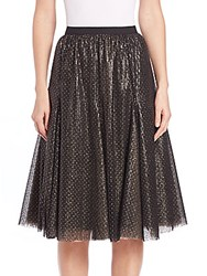 Kay Unger Beaded Sequin Skirt Black Gold