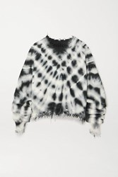 Unravel Project Distressed Ribbed Tie Dyed Cotton And Cashmere Blend Sweater Black