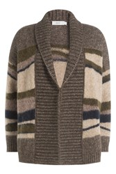Closed Wool Alpaca Stripe Panel Shawl Collar Cardigan Multicolor