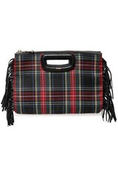 Maje Woman Fringed Checked Leather And Wool Twill Clutch Black