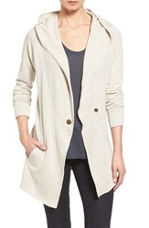 Caslonr Petite Women's Caslon Raw Edge Hooded Knit Jacket Heather Oatmeal