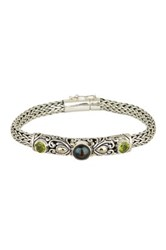 Phillip Gavriel 18K Yellow Gold And Sterling Silver 8Mm Grey Pearl And Peridot Bracelet Metallic
