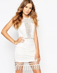 Goldie Mixed Crochet Bodycon Dress With Zip Back Ivory