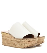 Chloe Leather And Cork Wedges White