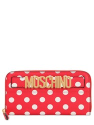 Moschino Dot Printed Leather Zip Around Wallet Red White Dots