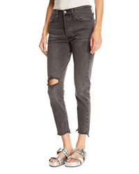 Levi's Premium 501 Well Worn Skinny Leg Cropped Jeans Gray