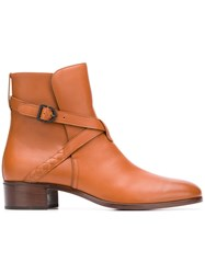 Bottega Veneta Buckled Ankle Boots Brown