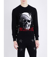 Philipp Plein Skull Print Knitted Jumper Black
