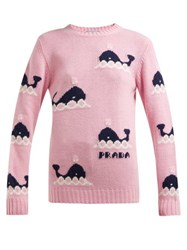 Prada Whale Intarsia Wool And Cashmere Blend Sweater Pink Multi