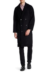 Billy Reid Ernie Genuine Leather Trim Wool Coat Black