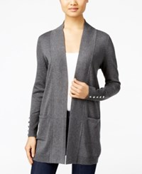 Jm Collection Petites Petite Open Front Cardigan Only At Macy's Charcoal Heather