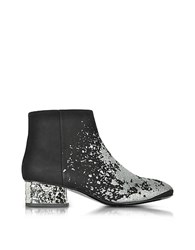 Mcq By Alexander Mcqueen Shacklewell Silver Glitter Printed Suede Bootie Black