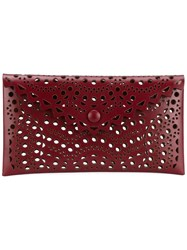 Alaia Laser Cut Leather Envelope Clutch Red
