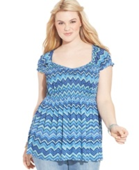American Rag Plus Size Cap Sleeve Printed Babydoll Top Surf The Web