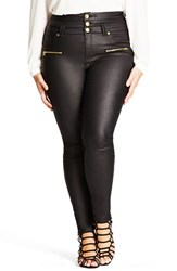 City Chic Plus Size Women's 'Skylark' Zip Detail Corset Waist Coated Jeans