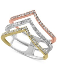 Effy Trio By Diamond Ring 3 8 Ct. T.W. In 14K White Yellow And Rose Gold Yellow White Rose Gold