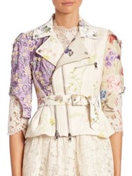 Alexander Mcqueen Embroidered Leather Moto Jacket Ivory Lilac