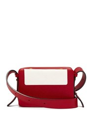Lutz Morris Maya Intarsia Leather Cross Body Bag Red White