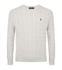 Polo Ralph Lauren Crew Neck Cable Knit Jumper Male Grey