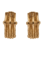 Christian Dior Vintage Textured Claw Earrings Metallic