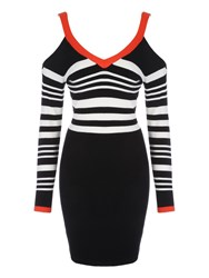 Jane Norman Monochrome And Red Buckle Shoulder Dress Multi Coloured Multi Coloured