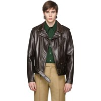 Schott Brown Leather Fitted Motorcycle Jacket