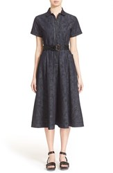 Women's Tomas Maier Floral Print Denim Midi Dress