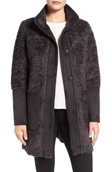 Vince Camuto Women's Faux Shearling Stand Collar Coat