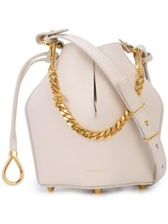 Alexander Mcqueen Bucket Chain Shoulder Bag White