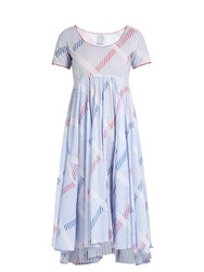 Thierry Colson Romy Stripe Print Cotton Voile Dress Blue Multi