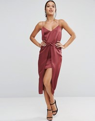 Asos Drape Front Cami Midi With Zip Back Dress Red Pink