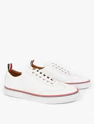 Thom Browne White Grained Leather Sneakers