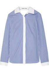 Sandy Liang Enzo Open Back Wrap Effect Ruffled Striped Cotton Poplin Shirt Blue