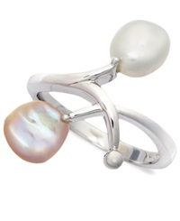 Macy's Sterling Silver Ring Keishi Cultured Freshwater Pearl Branch