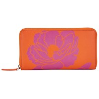 John Lewis Graphic Flower Leather Coin Purse Orange Pink