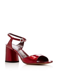Marc Jacobs Amelia Ankle Strap Block Heel Sandals Red