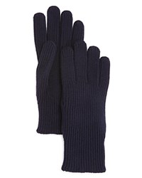 Moncler Wool Ribbed Knit Gloves Navy