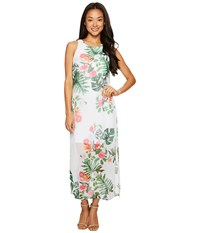 Vince Camuto Specialty Size Petite Sleeveless Havana Tropical Maxi Dress W Slits Ultra White Women's Dress